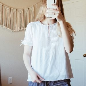 MADEWELL White Floral Cotton Keyhole Blouse sz S